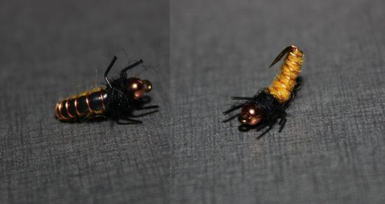 Her er den ferdige Bøe-larva, sett både underfra og overfra. Foto: Lasse Bøe